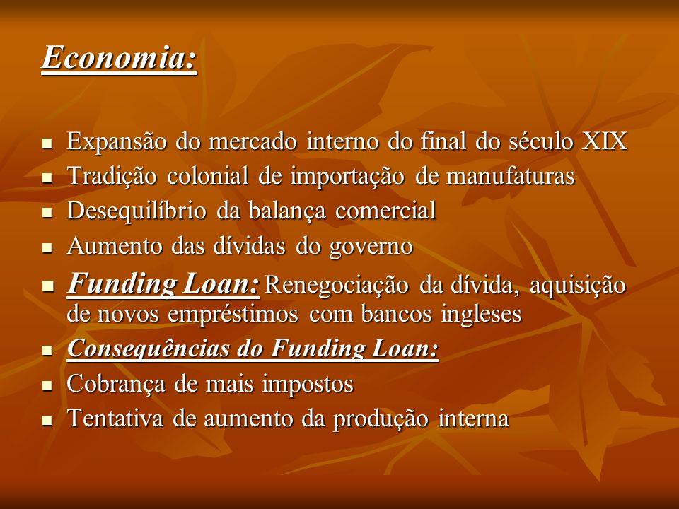 Economia: Expansão do mercado interno do final do século XIX. Tradição colonial de importação de manufaturas.