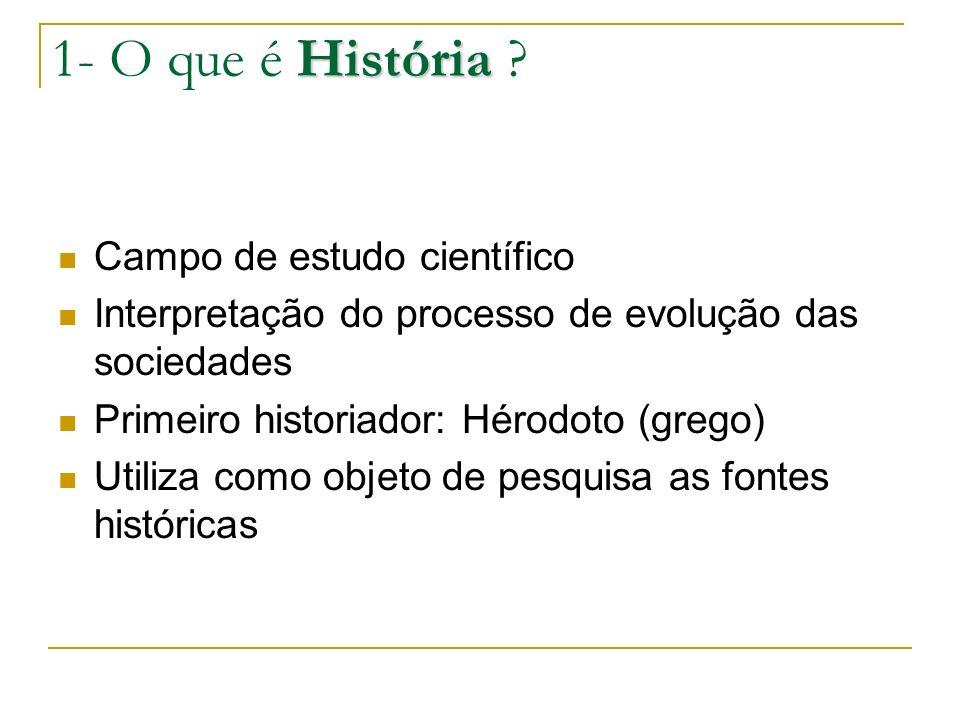 1- O que é História Campo de estudo científico