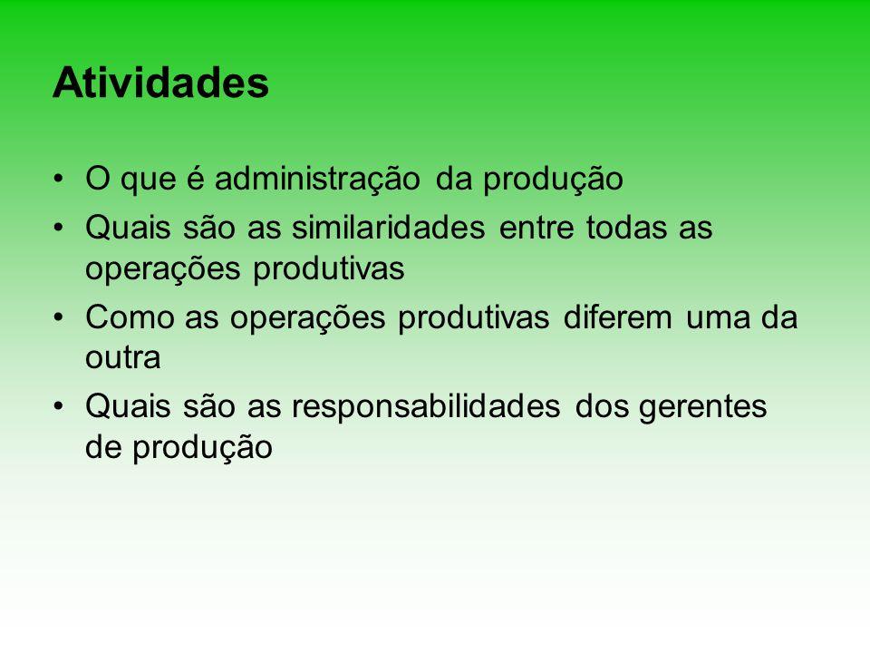 Atividades O que é administração da produção