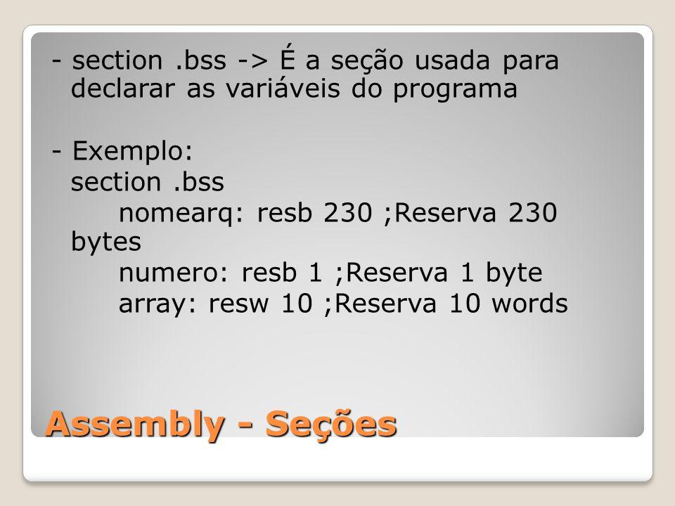 - section .bss -> É a seção usada para declarar as variáveis do programa