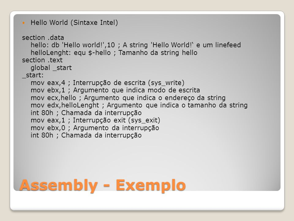 Assembly - Exemplo Hello World (Sintaxe Intel) section .data