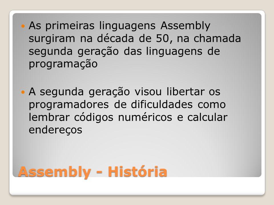 As primeiras linguagens Assembly surgiram na década de 50, na chamada segunda geração das linguagens de programação