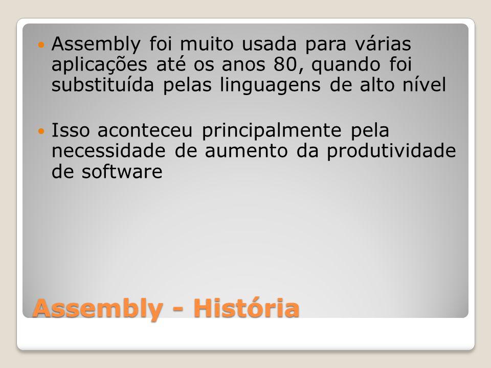 Assembly foi muito usada para várias aplicações até os anos 80, quando foi substituída pelas linguagens de alto nível