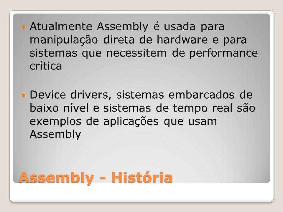 Atualmente Assembly é usada para manipulação direta de hardware e para sistemas que necessitem de performance crítica
