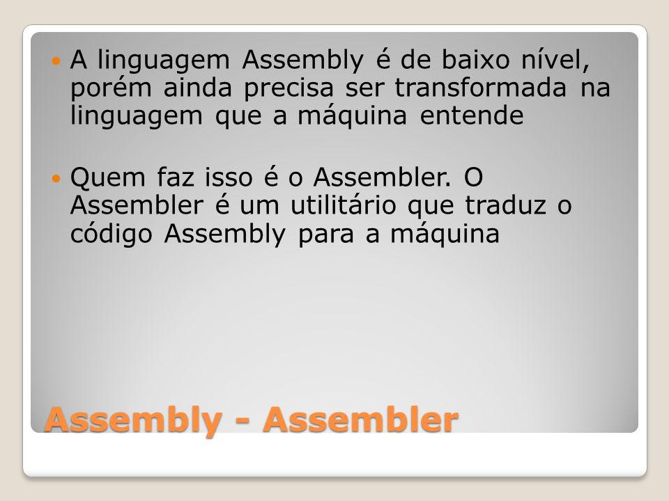 A linguagem Assembly é de baixo nível, porém ainda precisa ser transformada na linguagem que a máquina entende