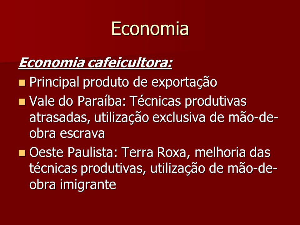 Economia Economia cafeicultora: Principal produto de exportação