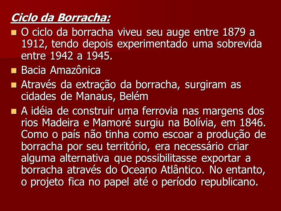 Ciclo da Borracha: O ciclo da borracha viveu seu auge entre 1879 a 1912, tendo depois experimentado uma sobrevida entre 1942 a 1945.