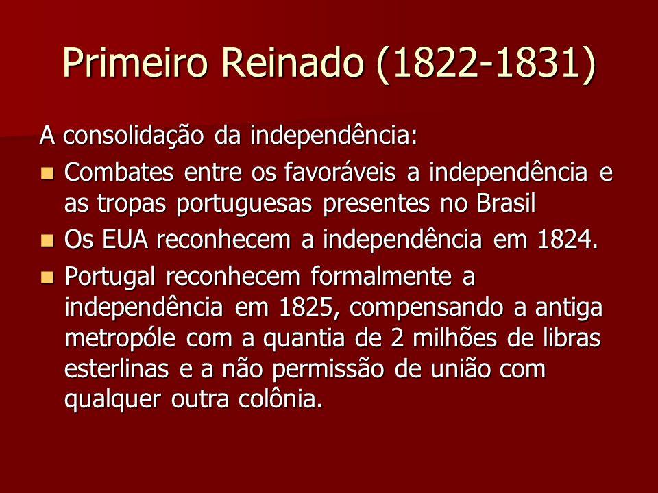 Primeiro Reinado (1822-1831) A consolidação da independência: