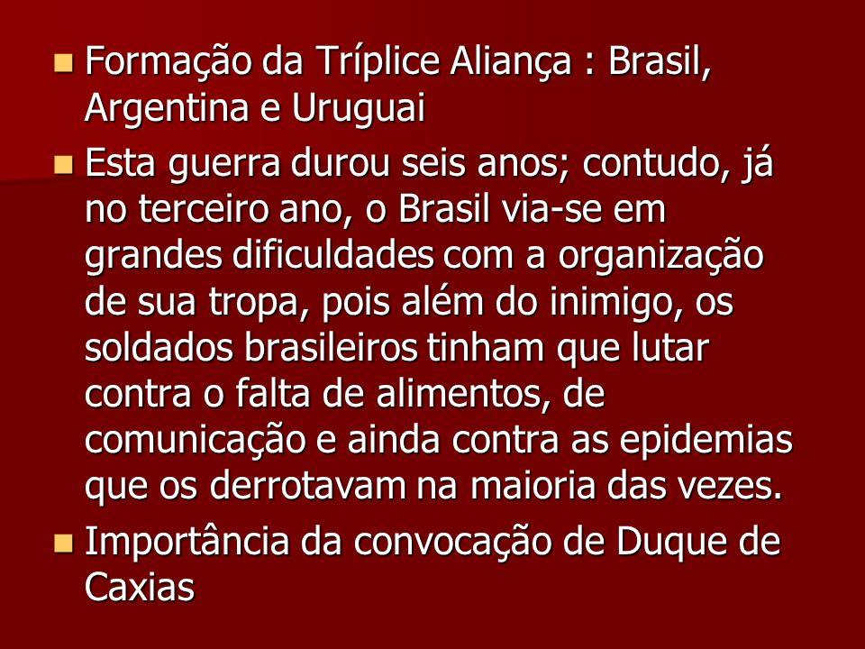 Formação da Tríplice Aliança : Brasil, Argentina e Uruguai