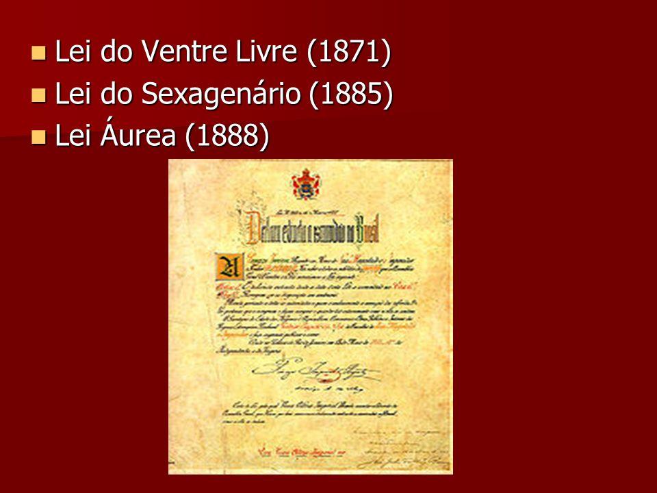 Lei do Ventre Livre (1871) Lei do Sexagenário (1885) Lei Áurea (1888)
