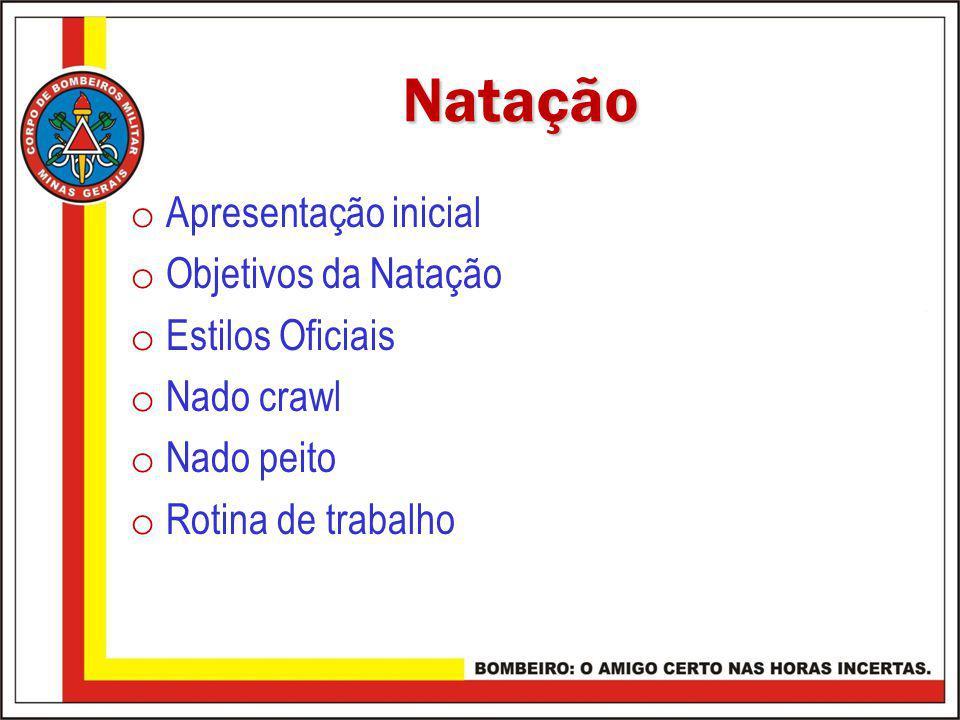 Natação Apresentação inicial Objetivos da Natação Estilos Oficiais