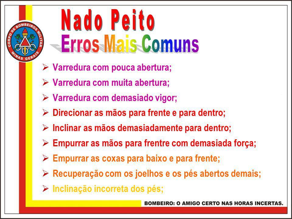 Nado Peito Erros Mais Comuns Varredura com pouca abertura;