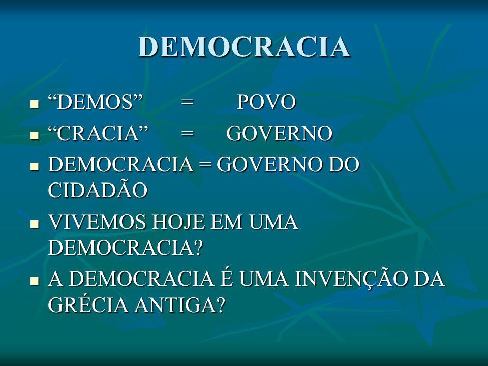 DEMOCRACIA DEMOS = POVO CRACIA = GOVERNO