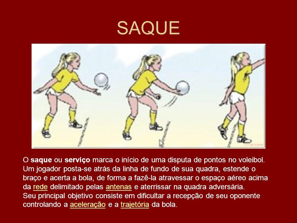 SAQUE O saque ou serviço marca o início de uma disputa de pontos no voleibol. Um jogador posta-se atrás da linha de fundo de sua quadra, estende o.