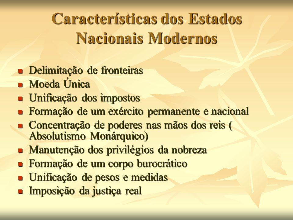 Características dos Estados Nacionais Modernos