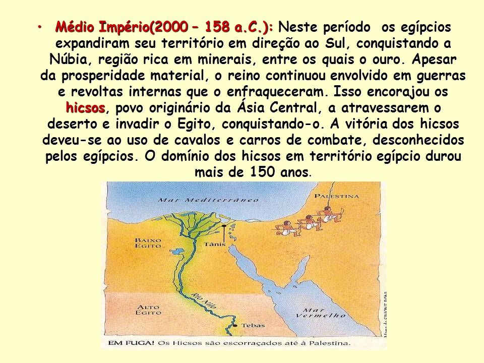 Médio Império(2000 – 158 a.C.): Neste período os egípcios expandiram seu território em direção ao Sul, conquistando a Núbia, região rica em minerais, entre os quais o ouro.