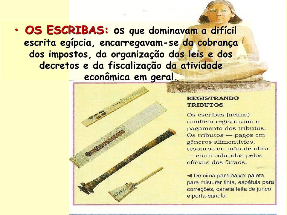 OS ESCRIBAS: os que dominavam a difícil escrita egípcia, encarregavam-se da cobrança dos impostos, da organização das leis e dos decretos e da fiscalização da atividade econômica em geral.