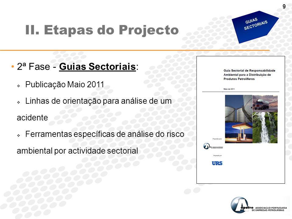 II. Etapas do Projecto 2ª Fase - Guias Sectoriais: