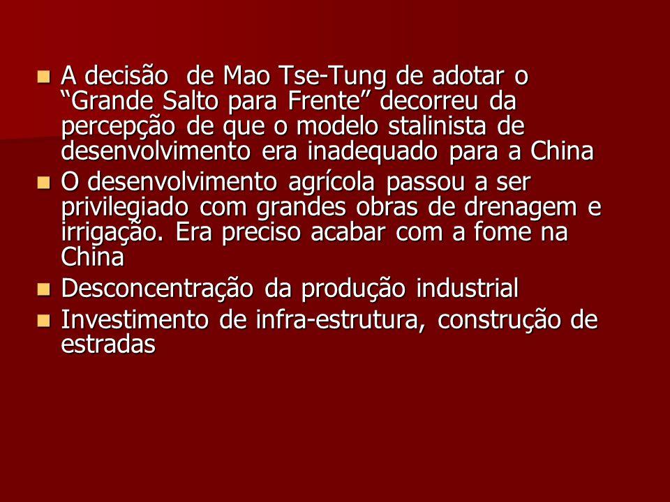 A decisão de Mao Tse-Tung de adotar o Grande Salto para Frente decorreu da percepção de que o modelo stalinista de desenvolvimento era inadequado para a China