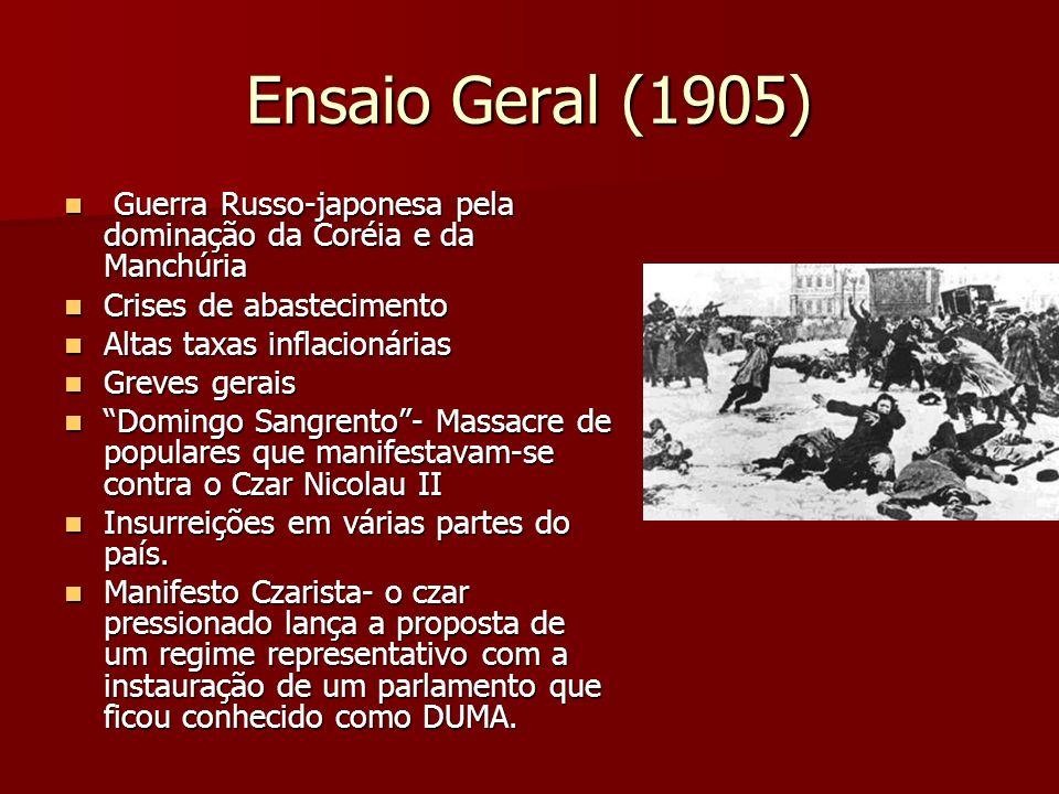 Ensaio Geral (1905) Guerra Russo-japonesa pela dominação da Coréia e da Manchúria. Crises de abastecimento.