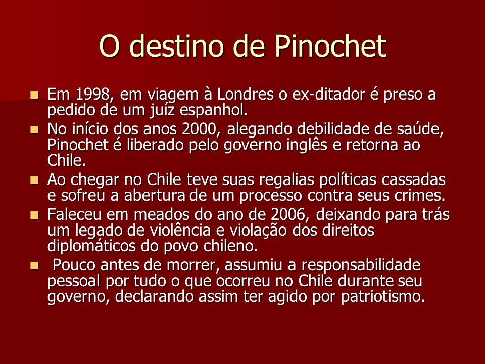 O destino de Pinochet Em 1998, em viagem à Londres o ex-ditador é preso a pedido de um juíz espanhol.