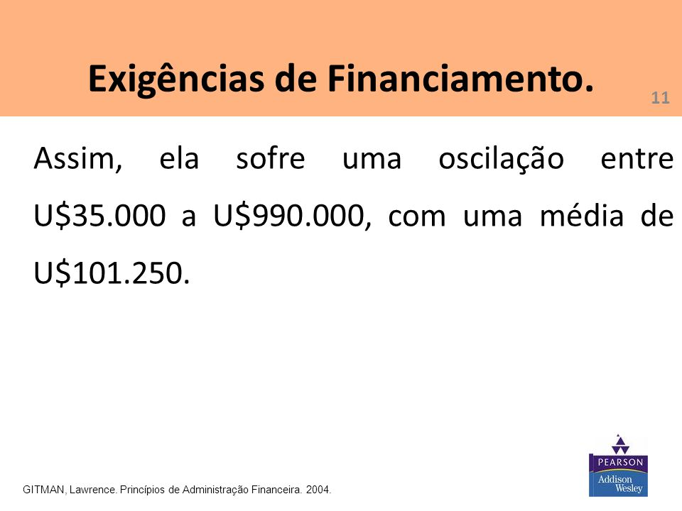 Exigências de Financiamento.