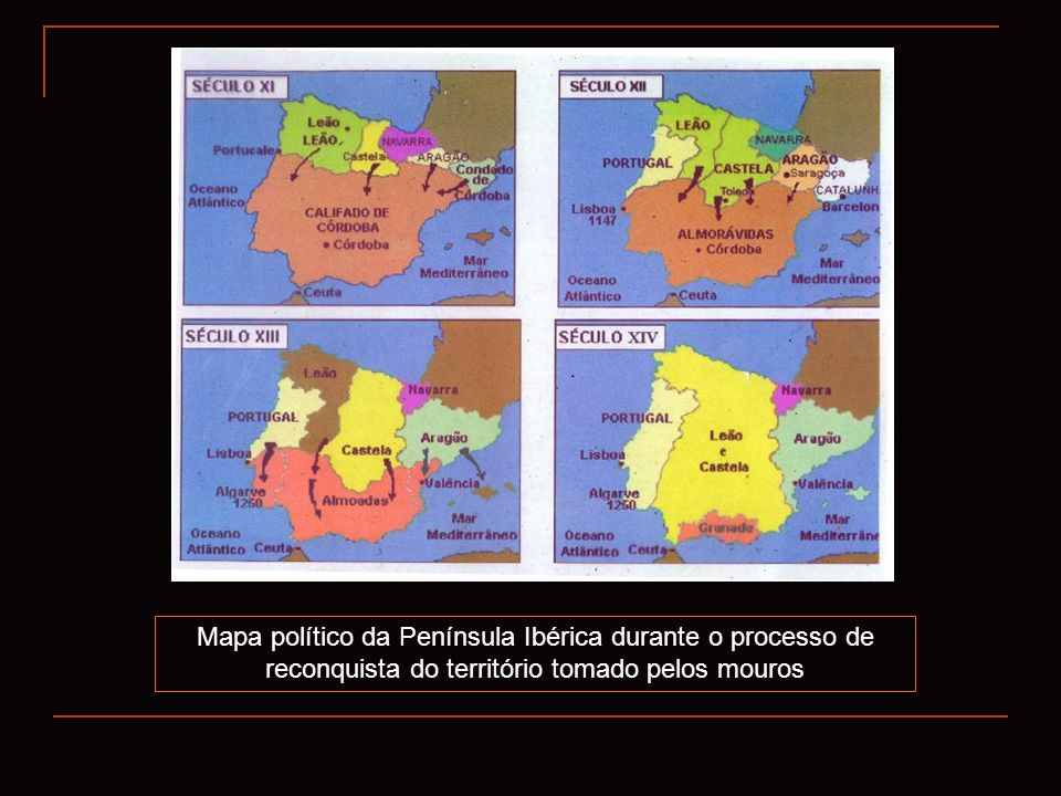 Mapa político da Península Ibérica durante o processo de reconquista do território tomado pelos mouros