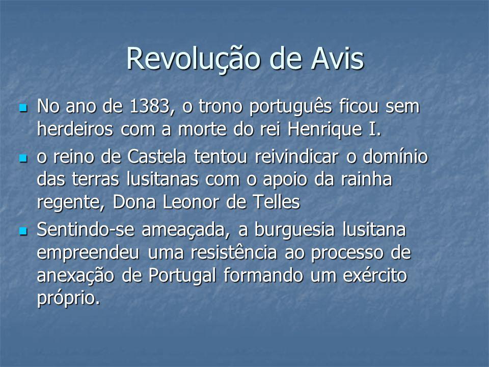 Revolução de AvisNo ano de 1383, o trono português ficou sem herdeiros com a morte do rei Henrique I.