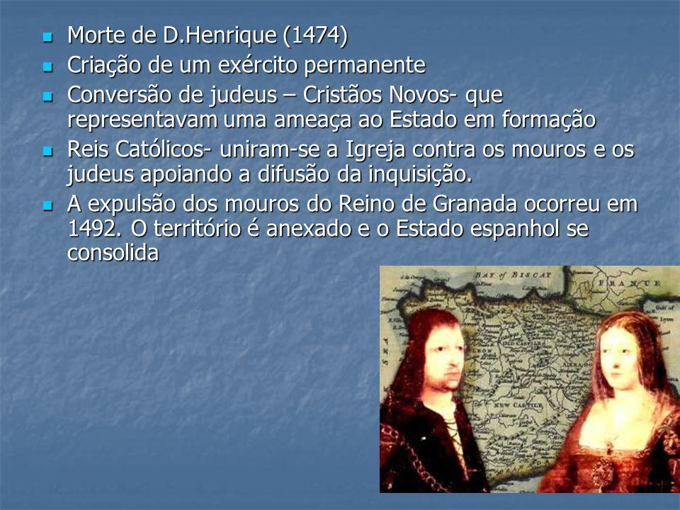 Morte de D.Henrique (1474)Criação de um exército permanente.