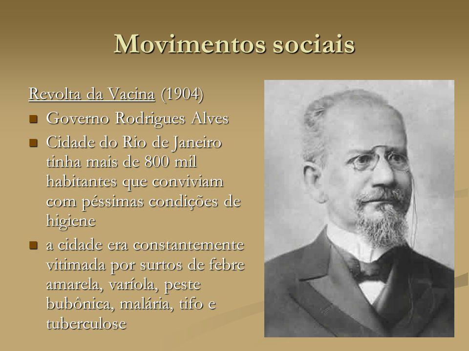 Movimentos sociais Revolta da Vacina (1904) Governo Rodrigues Alves