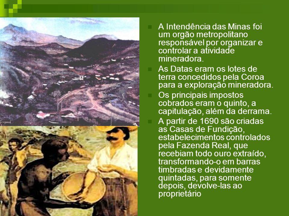 A Intendência das Minas foi um orgão metropolitano responsável por organizar e controlar a atividade mineradora.