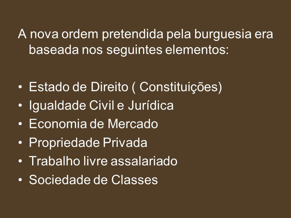 A nova ordem pretendida pela burguesia era baseada nos seguintes elementos: