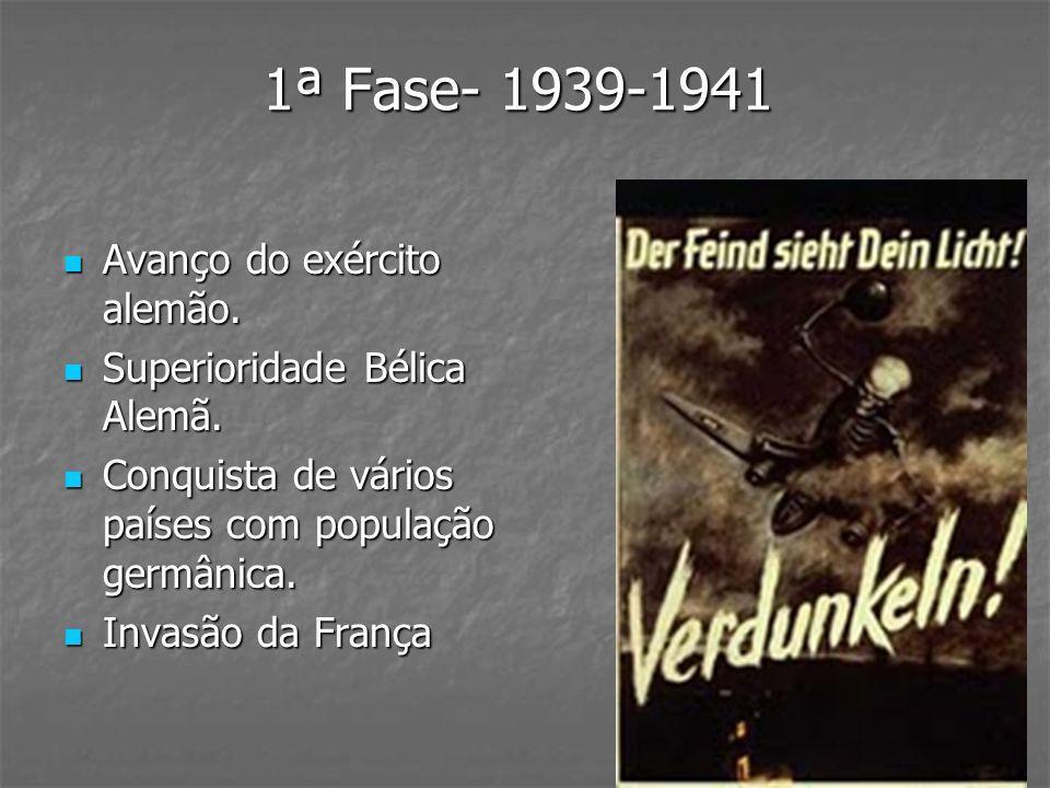 1ª Fase- 1939-1941 Avanço do exército alemão.