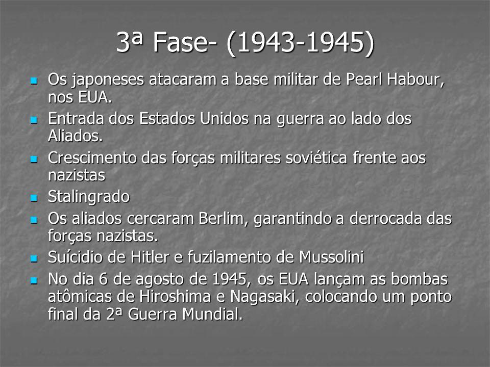 3ª Fase- (1943-1945) Os japoneses atacaram a base militar de Pearl Habour, nos EUA. Entrada dos Estados Unidos na guerra ao lado dos Aliados.