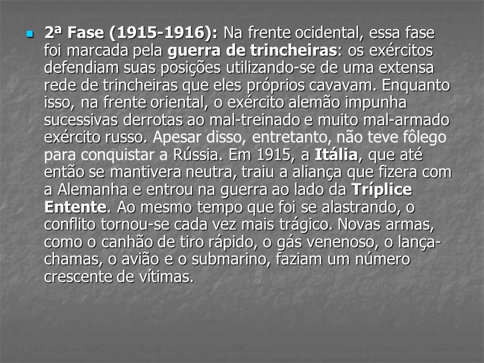 2ª Fase (1915-1916): Na frente ocidental, essa fase foi marcada pela guerra de trincheiras: os exércitos defendiam suas posições utilizando-se de uma extensa rede de trincheiras que eles próprios cavavam.