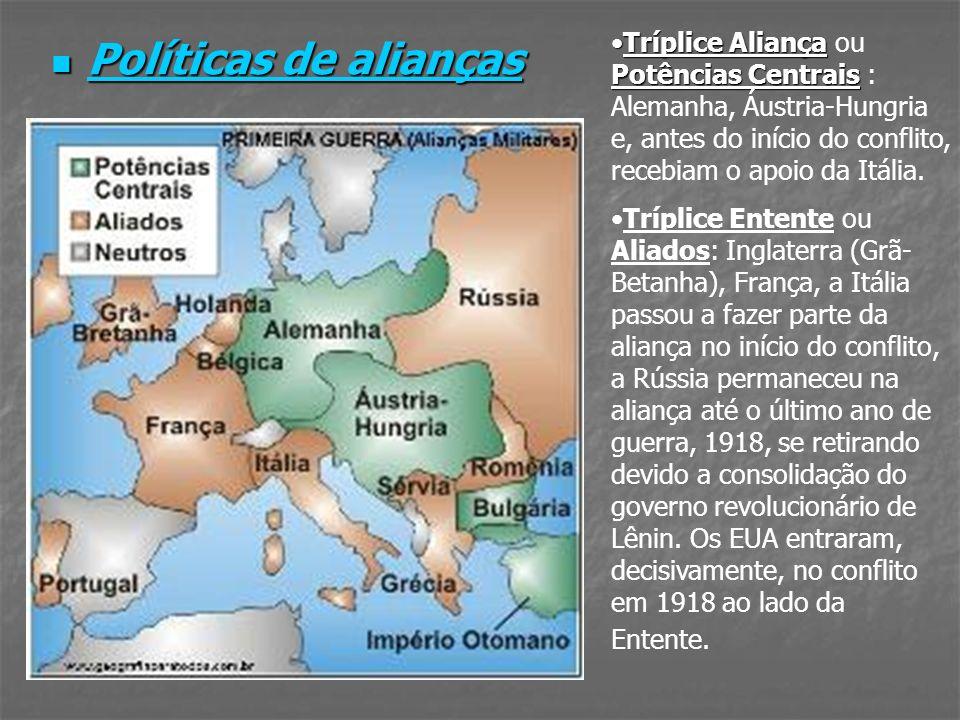 Tríplice Aliança ou Potências Centrais : Alemanha, Áustria-Hungria e, antes do início do conflito, recebiam o apoio da Itália.