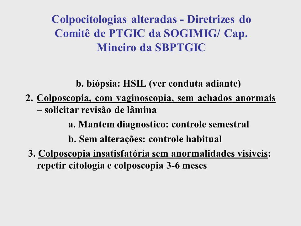 Colpocitologias alteradas - Diretrizes do Comitê de PTGIC da SOGIMIG/ Cap. Mineiro da SBPTGIC