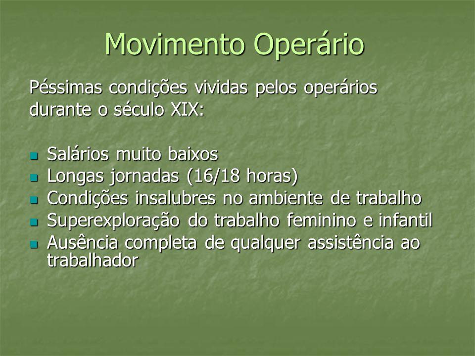Movimento Operário Péssimas condições vividas pelos operários