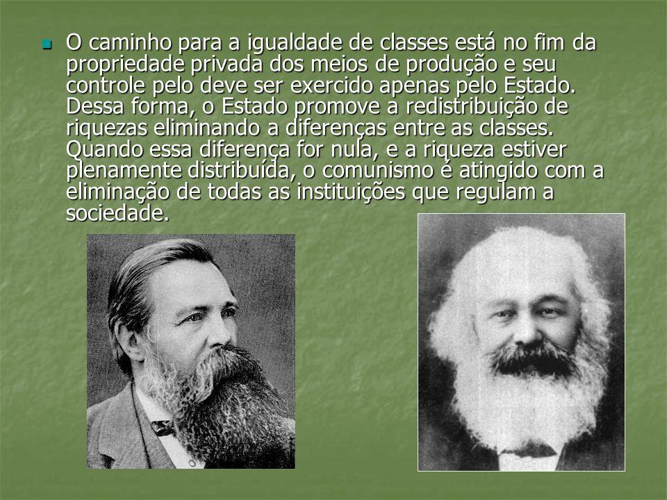 O caminho para a igualdade de classes está no fim da propriedade privada dos meios de produção e seu controle pelo deve ser exercido apenas pelo Estado.