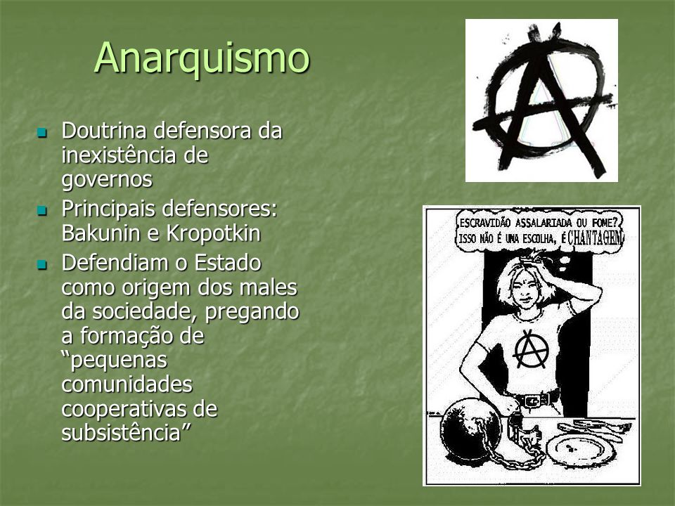 Anarquismo Doutrina defensora da inexistência de governos