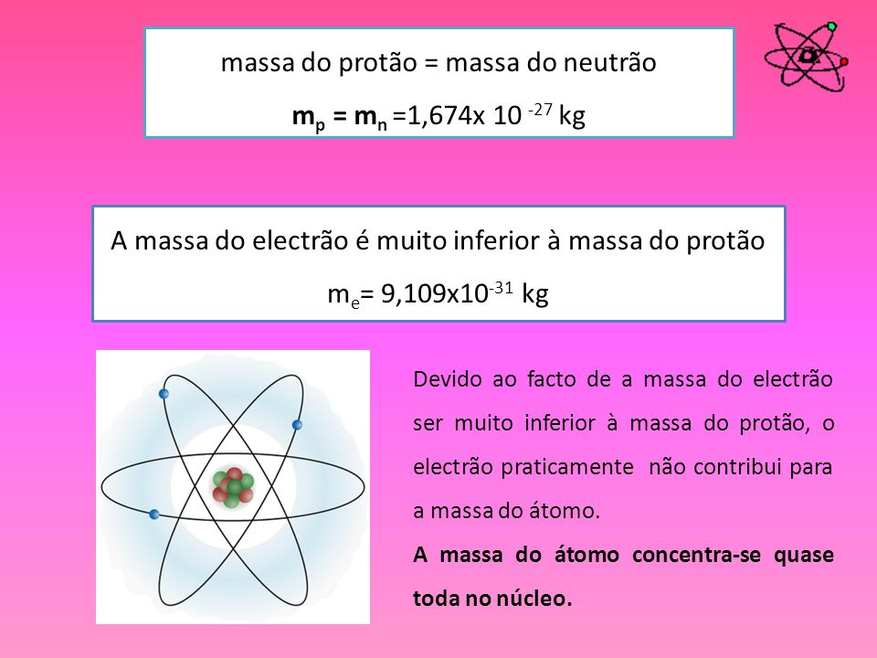 massa do protão = massa do neutrão mp = mn =1,674x 10 -27 kg