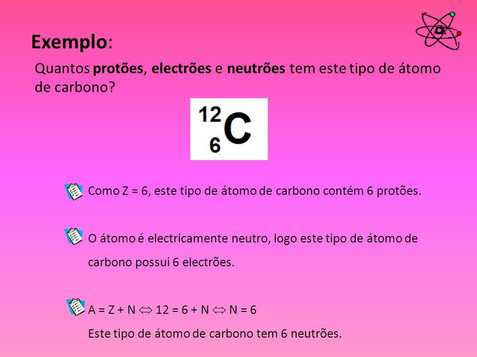 Exemplo: Quantos protões, electrões e neutrões tem este tipo de átomo de carbono Como Z = 6, este tipo de átomo de carbono contém 6 protões.