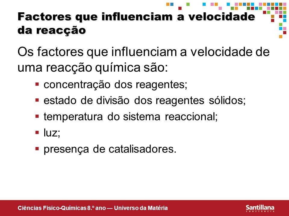 Factores que influenciam a velocidade da reacção