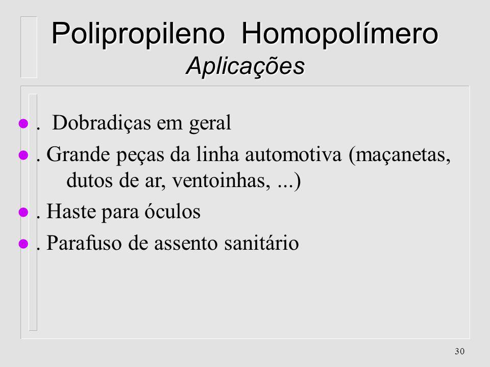 Polipropileno Homopolímero Aplicações