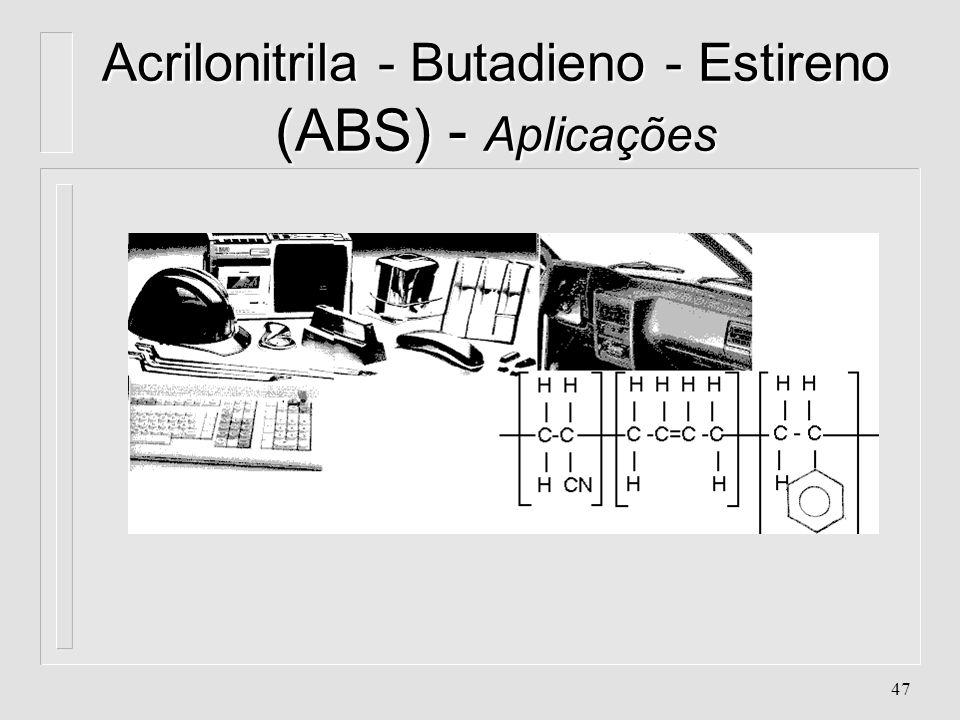 Acrilonitrila - Butadieno - Estireno (ABS) - Aplicações