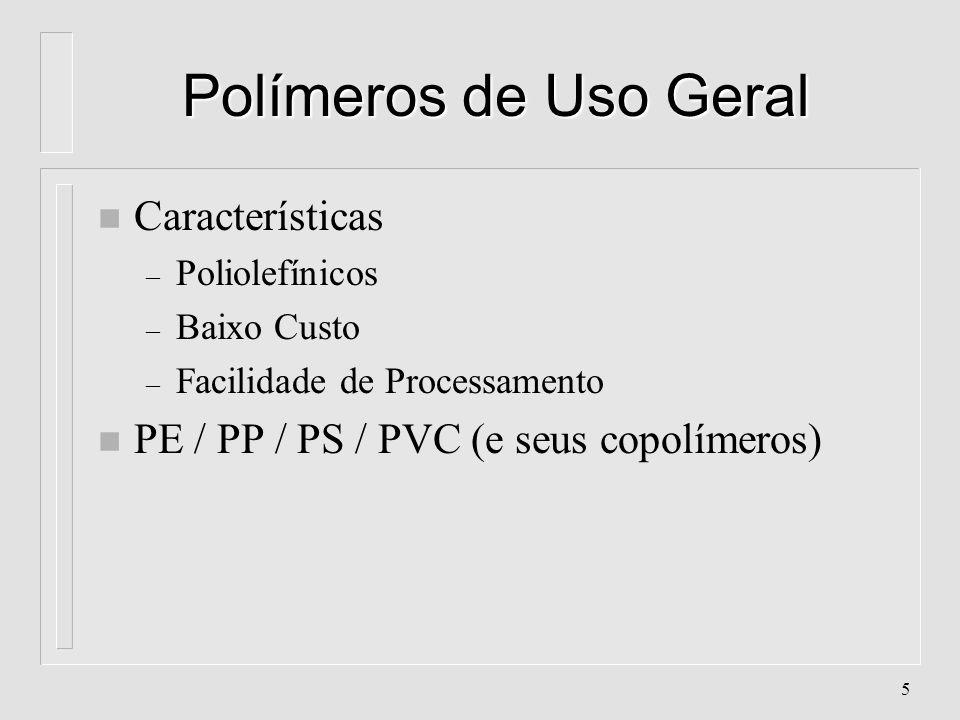 Polímeros de Uso Geral Características