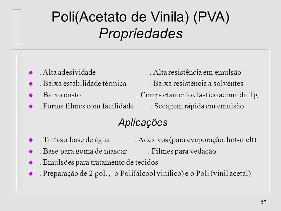 Poli(Acetato de Vinila) (PVA) Propriedades