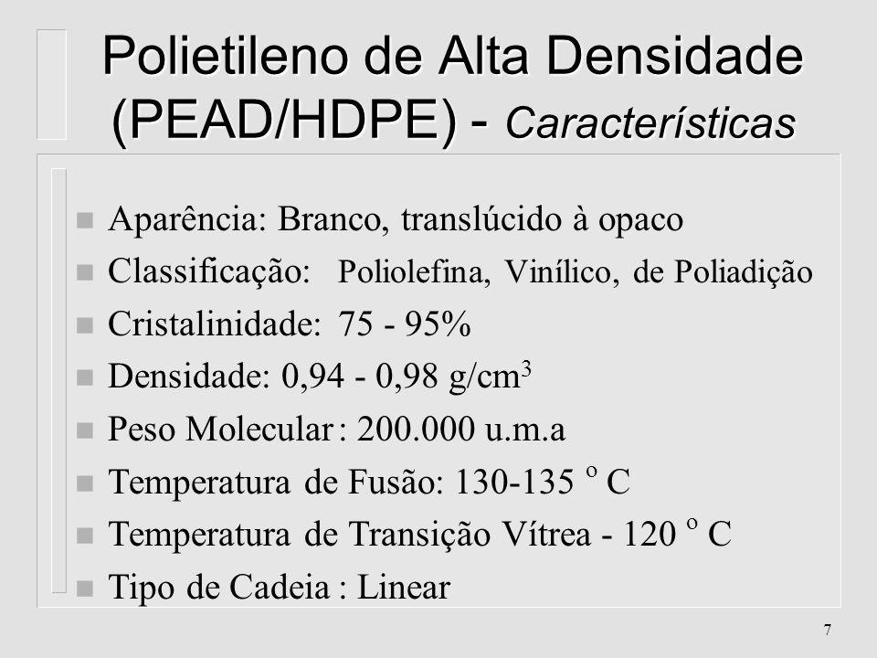 Polietileno de Alta Densidade (PEAD/HDPE) - Características