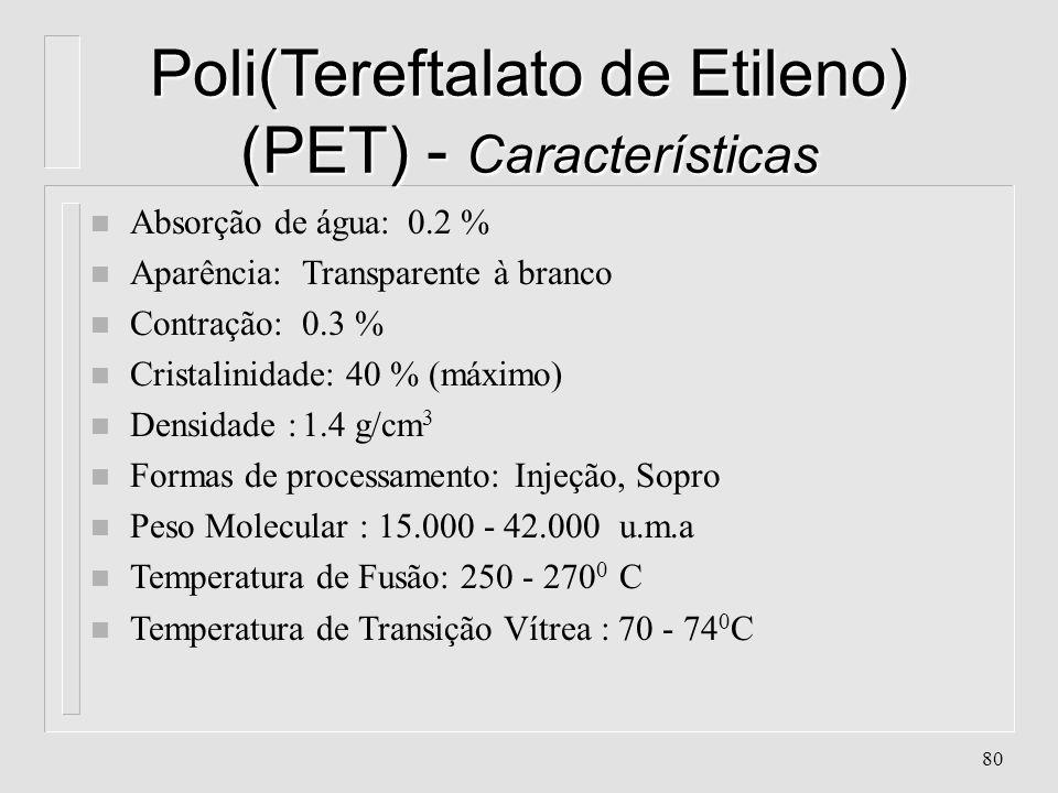 Poli(Tereftalato de Etileno) (PET) - Características