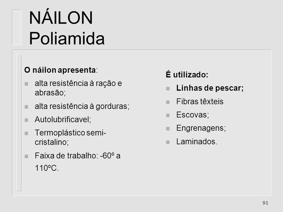 NÁILON Poliamida O náilon apresenta: